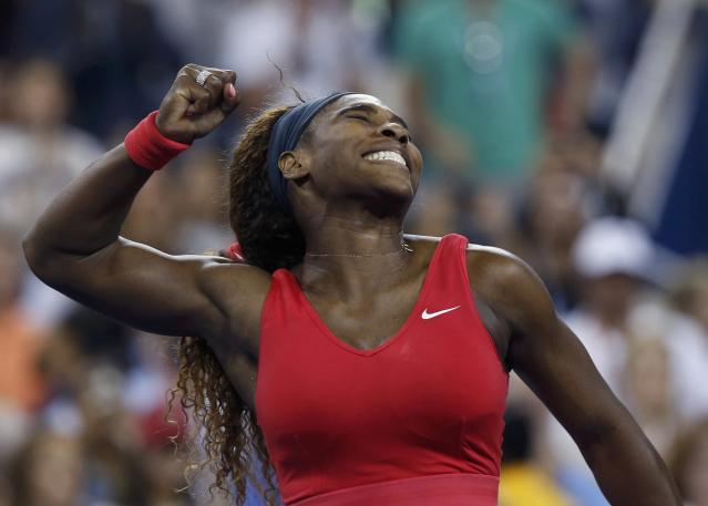 Serena Williams of the U.S. celebrates after defeating Victoria Azarenka of Belarus in their women's singles final match at the U.S. Open tennis championships in New York September 8, 2013. REUTERS/Adam Hunger (UNITED STATES - Tags: SPORT TENNIS TPX IMAGES OF THE DAY)
