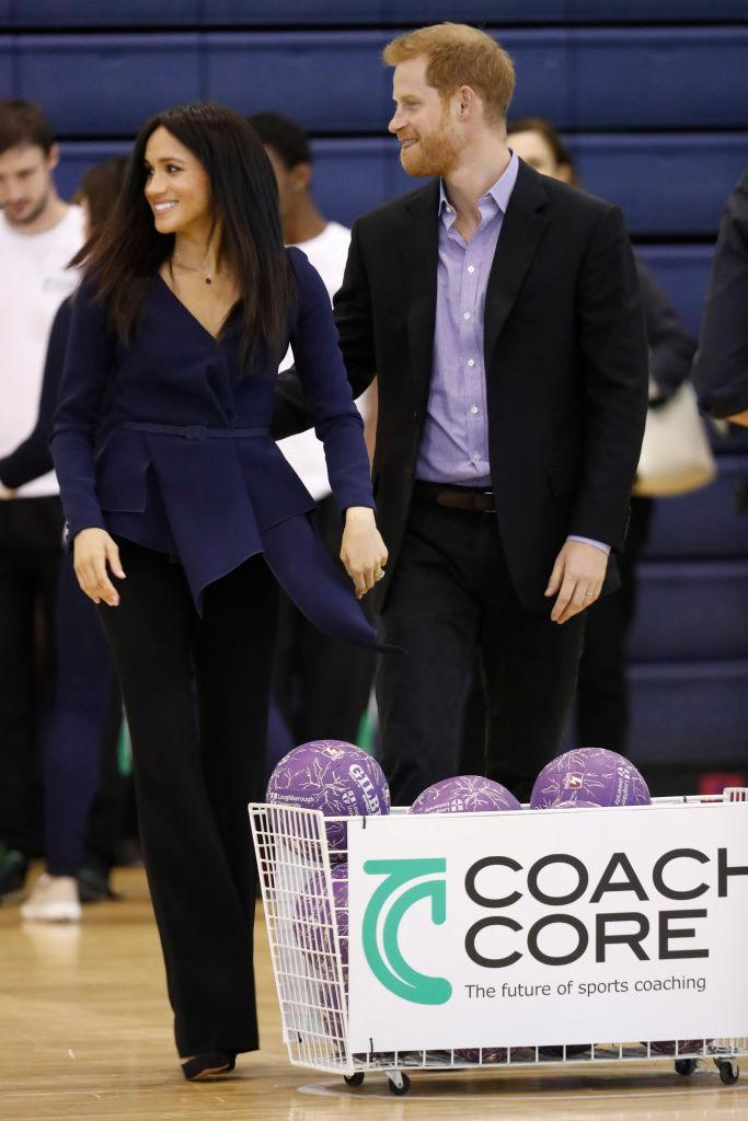 The Duke and Duchess of Sussex participated in netball training and group exercises ahead of the awards ceremony [Photo: Getty]