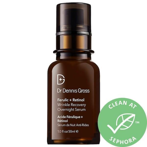 "<p><strong>Item: </strong><span>Dr. Dennis Gross Skincare Ferulic + Retinol Wrinkle Recovery Overnight Serum</span> ($88) </p> <p><strong>What our editor said:</strong> ""I'm not entirely sure what happened to my skin as of late, but if I had to guess, it's a mix of this lifestyle change, constantly pumping the dry heater in our house, and just general waves of anxiety and stress. Nonetheless, my cheeks have been getting beyond red. Not painful or anything, just rosacea-y red. I'd bought [this serum] prior to sheltering in place and thought this was the perfect time to try it out. I was admittedly new to retinol, so I tested a small amount during the daytime first just to see how my skin would react. Once I gave myself the go-ahead, I started using the serum at night after I cleaned my face. The result? When I wake up in the morning, my skin is even-toned again. It's still a little dry, but the redness dissipates. It's such a nice treat to wake up, look at myself in the mirror, and see evidence that something is working."" - Rebecca Brown, contributor</p> <p>If you want to read more, here is <a href=""https://www.popsugar.com/beauty/best-skincare-products-april-2020-47347685"" class=""link rapid-noclick-resp"" rel=""nofollow noopener"" target=""_blank"" data-ylk=""slk:the complete review"">the complete review</a>.</p>"