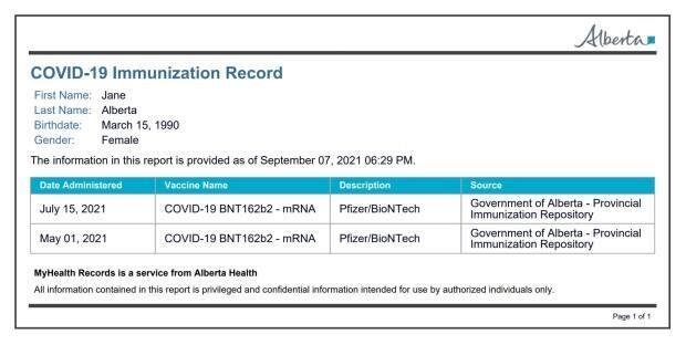 The Alberta government is introducing a printable proof of vaccination card. (Government of Alberta - image credit)