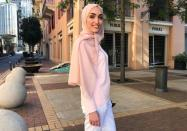 Bride Israa Seblani poses for a picture in the same place where she was taking her wedding photos yesterday at the moment of the explosion that occurred at Beirut's port area