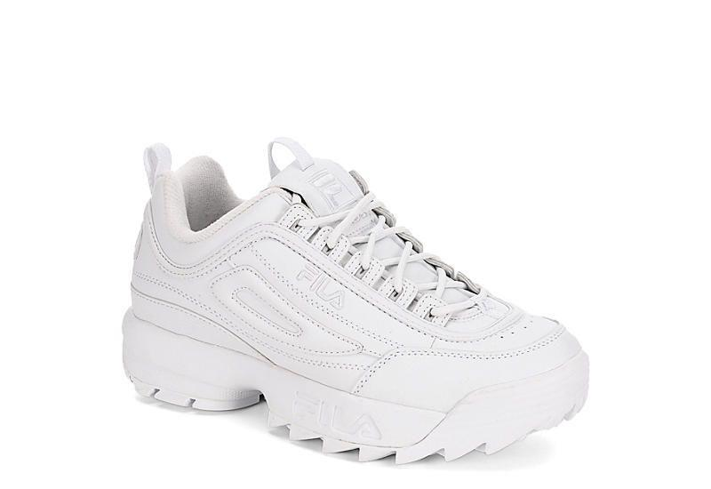 """<p><strong>Fila</strong></p><p>rackroomshoes.com</p><p><strong>$64.99</strong></p><p><a href=""""https://go.redirectingat.com?id=74968X1596630&url=https%3A%2F%2Fwww.rackroomshoes.com%2Fp%2Fdisruptor-ii%2F740472%3Fgclid%3DCjwKCAjwp-X0BRAFEiwAheRui7TO-U0vDQOXOIK_RVfHV7stoQ5BNCz9tuOkjzeizoHdDUk9geqjbxoC4_wQAvD_BwE&sref=https%3A%2F%2Fwww.marieclaire.com%2Ffashion%2Fg32185174%2Fugly-shoes%2F"""" rel=""""nofollow noopener"""" target=""""_blank"""" data-ylk=""""slk:Shop Now"""" class=""""link rapid-noclick-resp"""">Shop Now</a></p><p>It's hard to pinpoint the actual origin of the Dad Sneaker and its modern day resurgence, but it's safe to say the Fila Disruptor has the chunkiness and the height to make it super covetable. </p>"""