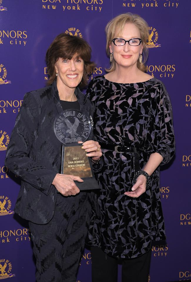 NEW YORK, NY - OCTOBER 13:  Actress Meryl Streep (R) poses with award recipient Director Nora Ephron at the 2011 Directors Guild Of America Honors at the Directors Guild of America Theater on October 13, 2011 in New York City.  (Photo by Michael Loccisano/Getty Images)