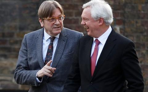Guy Verhofstadt, the European Union's chief Brexit negotiator, and Britain's Secretary of State for Exiting the European Union David Davis