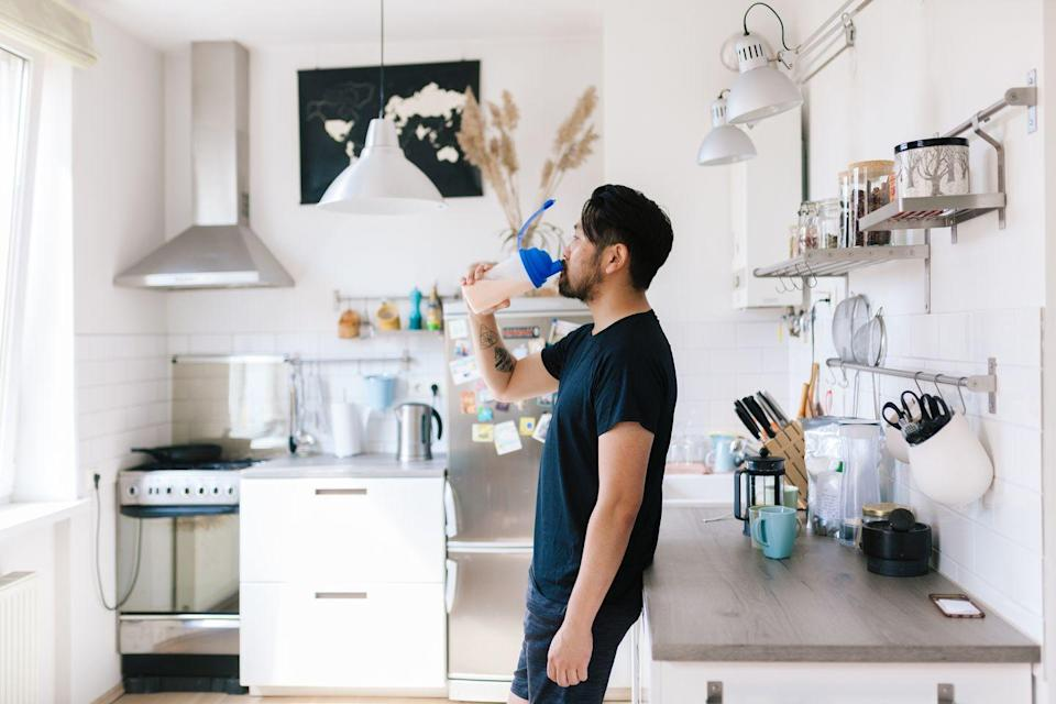 """<p>Protein shakes can be a good drinkable snack. However, you'll want to find something that's been tested for quality assurance, says Boehmer. </p><p>Products that contain NSF International's """"Certified for Sport""""designation have been tested to ensure they only contain the ingredients listed on the label. Again, pair it with food to increase satiety. </p>"""