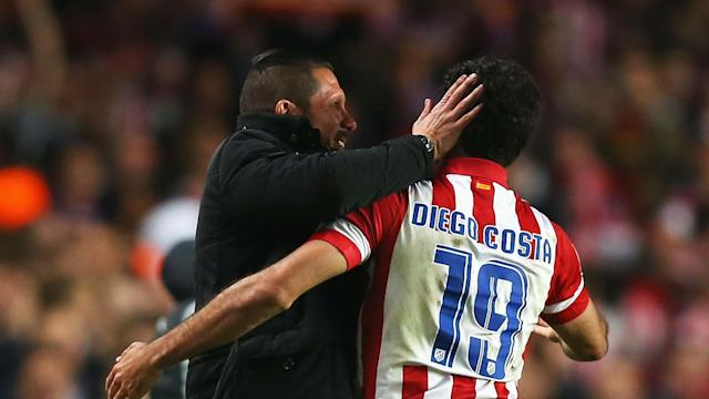 Diego Costa's importance to Atletico Madrid was akin to Lionel Messi at Barcelona before he left to join Chelsea, says Diego Simeone.
