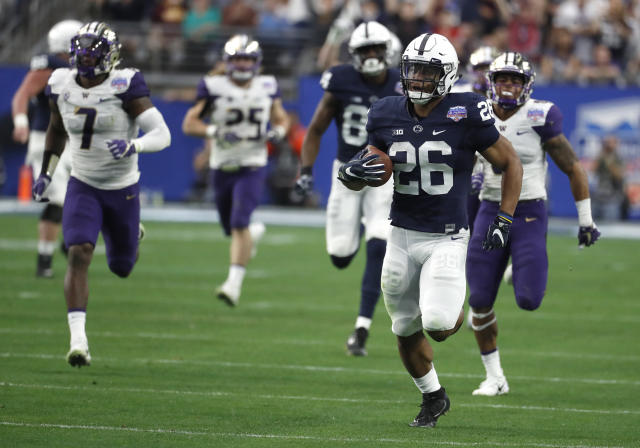 Penn State's Saquon Barkley is expected to be the top running back selected in the NFL draft. (AP)