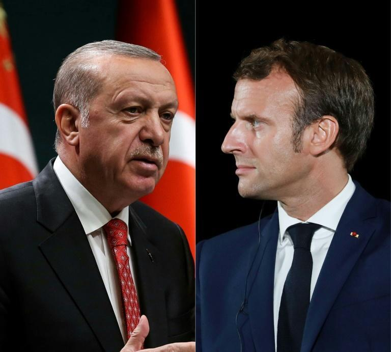 A new Charlie Hebdo cartoon of Turkish President Recep Tayyip Erdogan (L) has stoked confrontation with France and President Emmanuel Macron