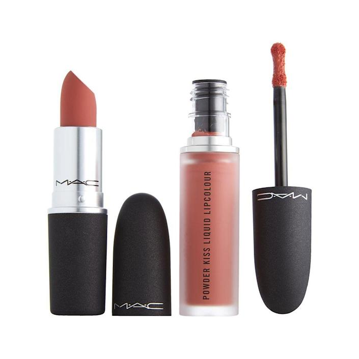 """<p><strong>MAC Cosmetics</strong></p><p>nordstrom.com</p><p><strong>$31.50</strong></p><p><a href=""""https://go.redirectingat.com?id=74968X1596630&url=https%3A%2F%2Fwww.nordstrom.com%2Fs%2Fmac-powder-kiss-lipstick-liquid-lipstick-set%2F5899963&sref=https%3A%2F%2Fwww.bestproducts.com%2Fbeauty%2Fg256%2Fchristmas-holiday-beauty-gifts%2F"""" rel=""""nofollow noopener"""" target=""""_blank"""" data-ylk=""""slk:Shop Now"""" class=""""link rapid-noclick-resp"""">Shop Now</a></p><p>We always like to have options, which is why this lip duo is the ultimate must-have for anyone's pout. This duo is a matte lover's dream and comes with two full-sized lippies from MAC's Powder Kiss line: the light, matte Lipstick and the inky air-weight Liquid Lipstick.<br><br>This kit comes in the blood-red <a href=""""https://go.redirectingat.com?id=74968X1596630&url=https%3A%2F%2Fwww.nordstrom.com%2Fs%2Fmac-powder-kiss-lipstick-liquid-lipstick-set%2F5899963&sref=https%3A%2F%2Fwww.bestproducts.com%2Fbeauty%2Fg256%2Fchristmas-holiday-beauty-gifts%2F"""" rel=""""nofollow noopener"""" target=""""_blank"""" data-ylk=""""slk:""""Like Mother"""""""" class=""""link rapid-noclick-resp"""">""""Like Mother""""</a> duo and the peachy-nude """"Like Daughter,"""" as shown here.</p>"""