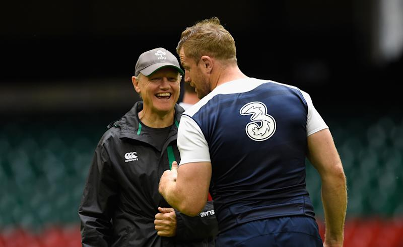 CARDIFF, WALES - AUGUST 07: Ireland captain Jamie Heaslip (r) shares a joke with coach Joe Schmidt during Ireland's captains run prior to saturday's Rugby World Cup warm up match against Wales at Millenium Stadium on August 7, 2015 in Cardiff, Wales. (Photo by Stu Forster/Getty Images)
