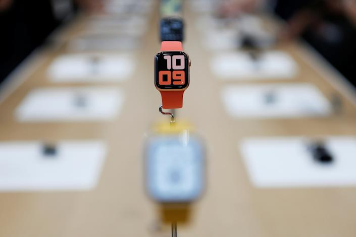 An Apple Watch Series 5 is seen on display in the demonstration area during a launch event at their headquarters in Cupertino, California, U.S. September 10, 2019. REUTERS/Stephen Lam