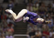 McKayla Maroney performs in the floor exercise event during the preliminary round of the women's Olympic gymnastics trials, Friday, June 29, 2012, in San Jose, Calif. (AP Photo/Jae C. Hong)
