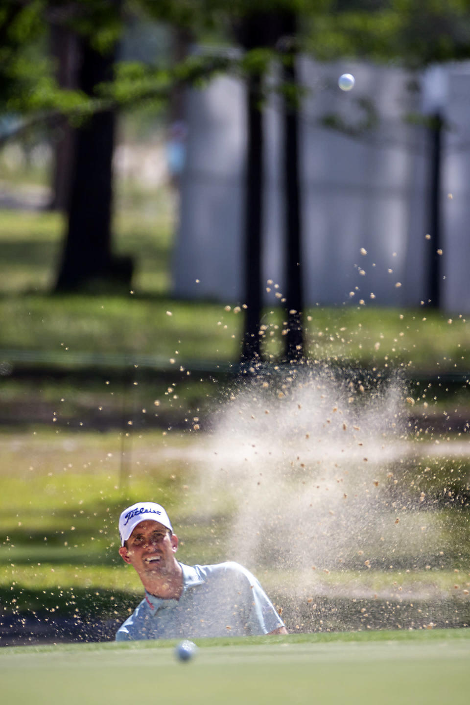 Chesson Hadley hits out of a bunker to the 12th green during the second round of the Palmetto Championship golf tournament in Ridgeland, S.C., Friday, June 11, 2021. (AP Photo/Stephen B. Morton)