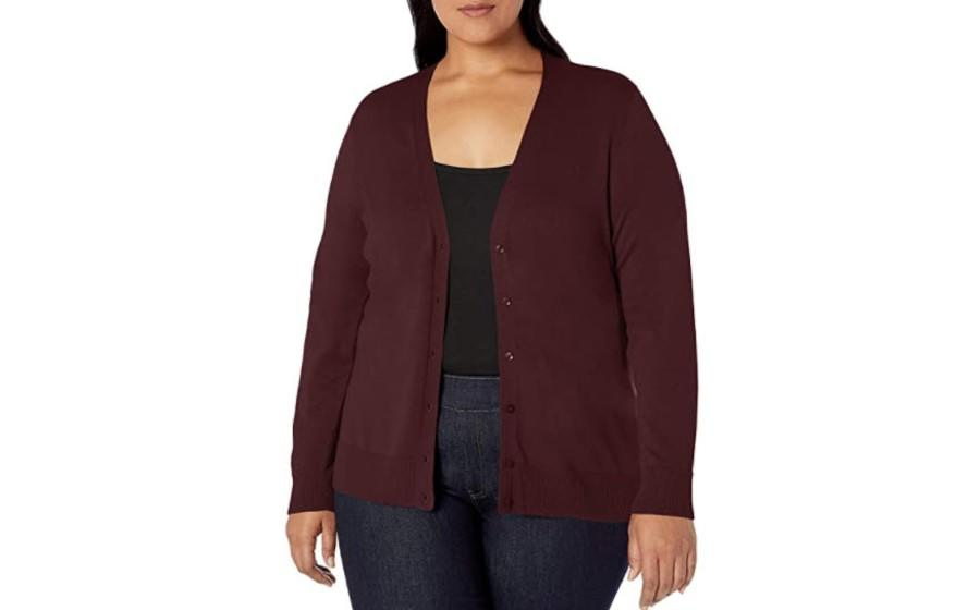 Amazon Essentials Women's Plus Size Lightweight Vee Cardigan Sweater in burgundy. (Image via Amazon)