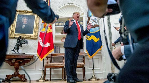 PHOTO: President Donald Trump speaks to member of the media as he departs a ceremonial swearing in ceremony for new Labor Secretary Eugene Scalia in the Oval Office of the White House, Sept. 30, 2019. (Andrew Harnik/AP)