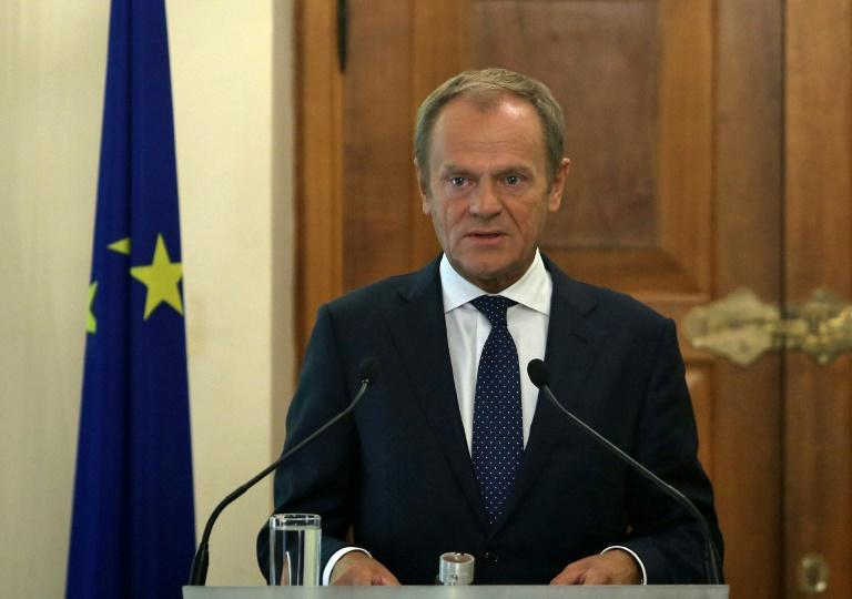 """EU Council President Donald Tusk accuses Turkey of attempting to """"weaponise"""" the 3.6 million Syrian refugees it hosts to ward off criticism of its invasion of the war-torn country's Kurdish-ruled northeast (AFP Photo/Yiannis KOURTOGLOU)"""