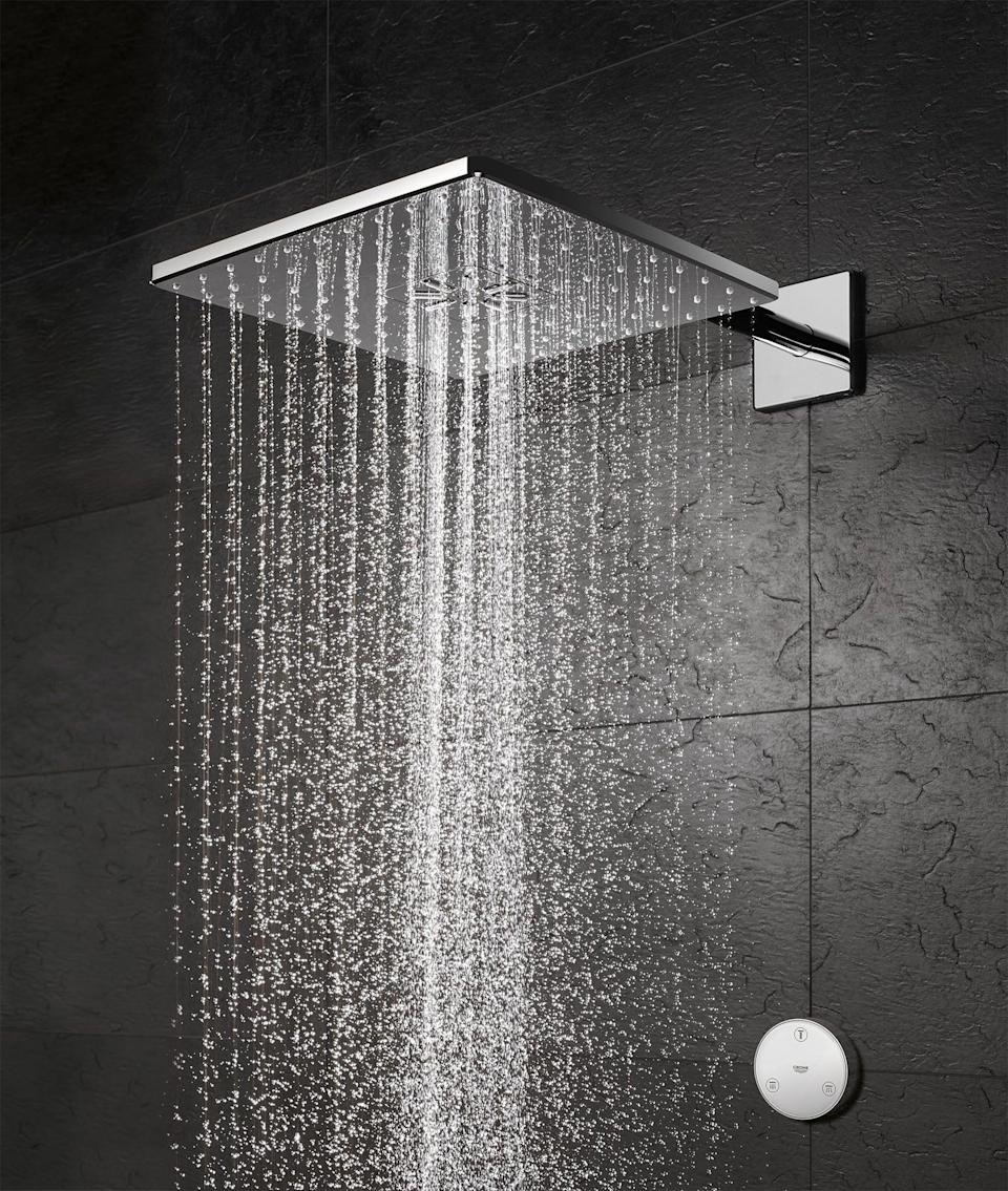 "<p><strong>Grohe</strong></p><p>grohe.us</p><p><strong>$552.50</strong></p><p><a href=""https://www.grohe.us/Rain-Shower-Heads/Shower-Head-with-Remote-12-Inch-2-Sprays-175gpm/GROHE-CHROME-26645000"" rel=""nofollow noopener"" target=""_blank"" data-ylk=""slk:Shop Now"" class=""link rapid-noclick-resp"">Shop Now</a></p><p><em>Shower Head with Remote</em></p>"