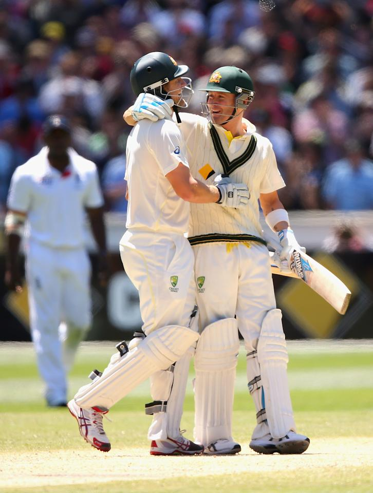 MELBOURNE, AUSTRALIA - DECEMBER 29:  Shane Watson and Michael Clarke of Australia celebrate winning during day four of the Fourth Ashes Test Match between Australia and England at Melbourne Cricket Ground on December 29, 2013 in Melbourne, Australia.  (Photo by Quinn Rooney/Getty Images)