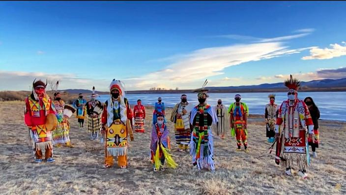 """The Native American Dancers of Wind River perform during the virtual """"Parade Across America"""""""