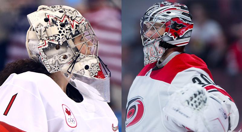 During his magical rookie season back in 2005-06, Cam Ward (right) took the opportunity to help an up-and-coming Shannon Szabados (left).
