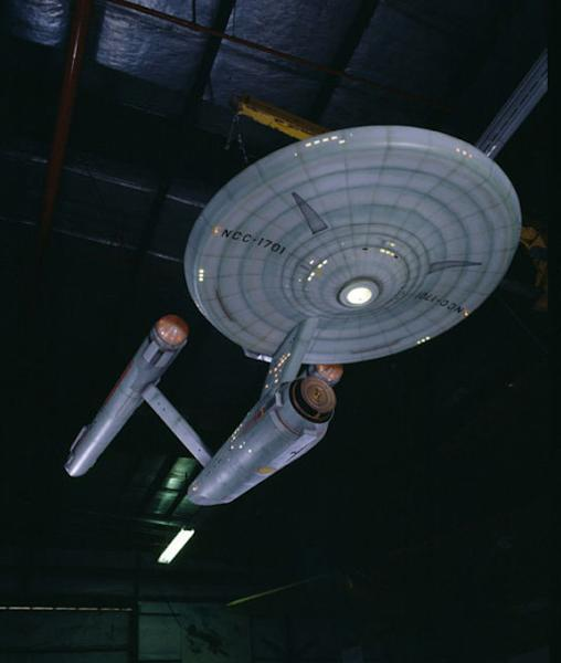 """This model of the fictional starship Enterprise was used in the weekly hourlong """"Star Trek"""" TV series that aired September 1966 to June 1969."""