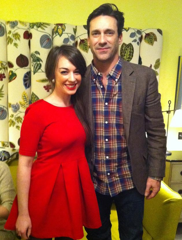 Celebrity photos: Team omg!'s Julia's dream came true when she got this close to Mad Men hottie John Hamm.