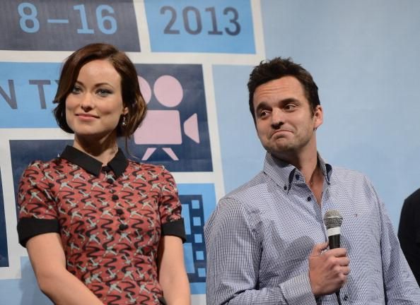 "Actress Olivia Wilde (L) and actor Jake Johnson attend the World Premiere of ""Drinking Buddies"" at the 2013 SXSW Music, Film + Interactive Festival at the Paramount Theatre on March 9, 2013 in Austin, Texas."