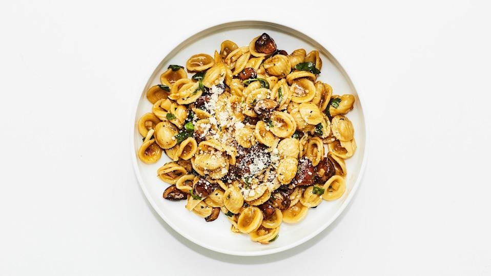"Mushrooms take the place of the traditional cured pork in this vegetarian carbonara recipe—but fear not, the dish does not lack depth of flavor! A deep browning on the mushrooms, coupled with garlic and shallots, brings the humble button mushroom to a higher place. <a href=""https://www.bonappetit.com/recipe/mushroom-carbonara?mbid=synd_yahoo_rss"" rel=""nofollow noopener"" target=""_blank"" data-ylk=""slk:See recipe."" class=""link rapid-noclick-resp"">See recipe.</a>"