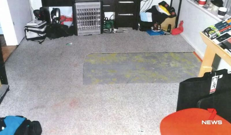 The missing square of carpet. Source: 7 News