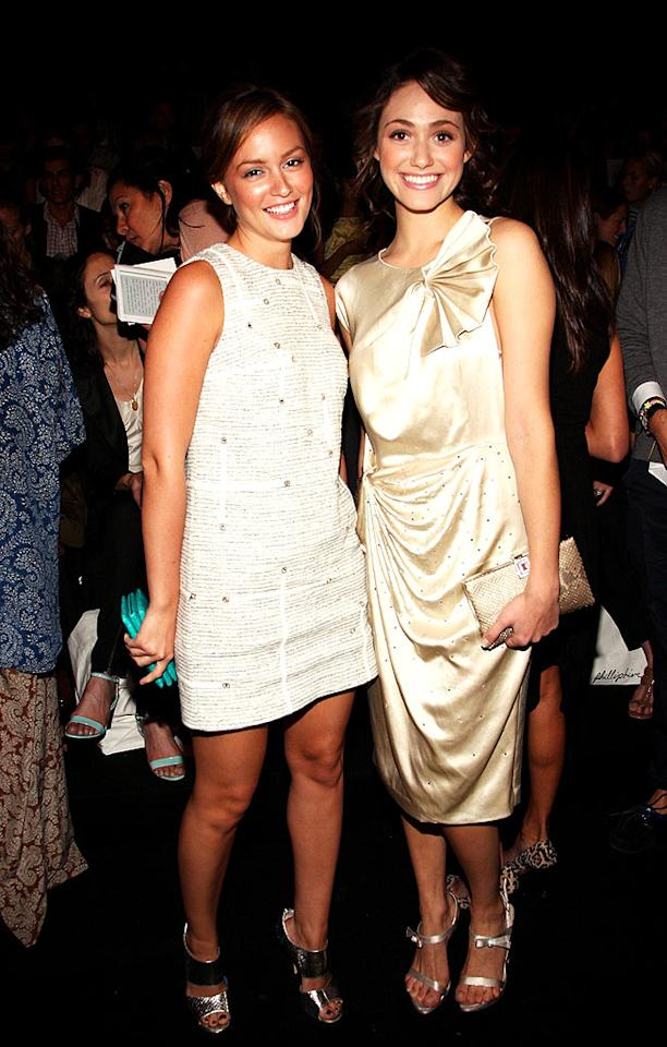 "Leighton Meester and Emmy Rossum were a couple of golden girls at the Phillip Lim show. Bryan Bedder/<a href=""http://www.gettyimages.com/"" target=""new"">GettyImages.com</a> - September 10, 2008"