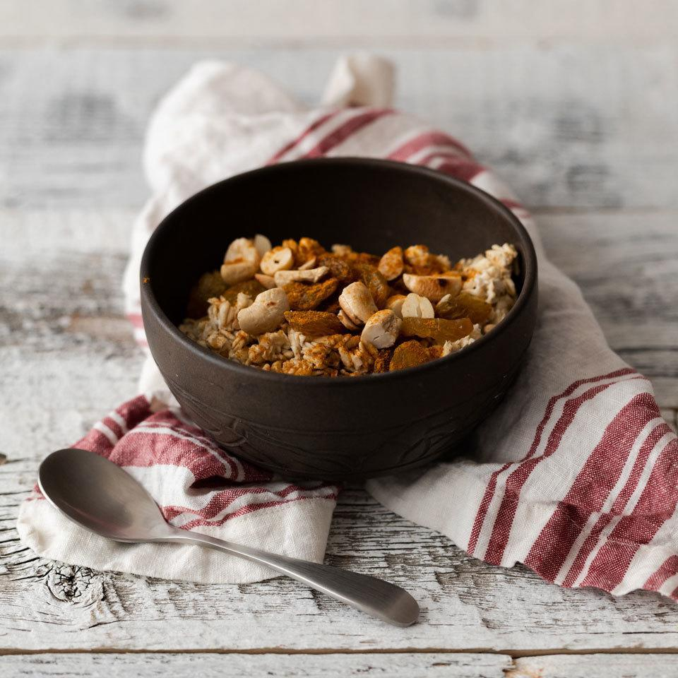 <p>If you think oatmeal can only be sweet, this savory oats recipe will change your mind. Rich curry powder pairs perfectly with nutty cashews and sweet-tart raisins for a unique whole-grain breakfast (or dinner!).</p>