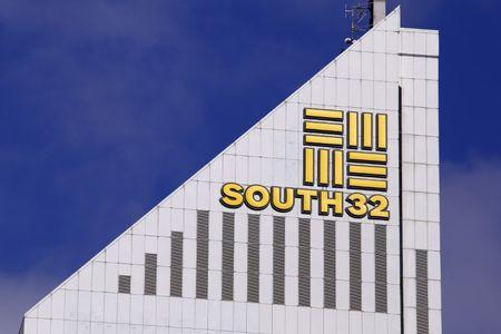 A sign adorns the building where Australian miner South32 has their office in Perth, Western Australia