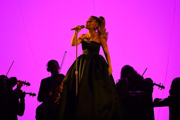US singer-songwriter Ariana Grande performs during the 62nd Annual Grammy Awards on January 26, 2020, in Los Angeles. (Photo by Robyn Beck / AFP) (Photo by ROBYN BECK/AFP via Getty Images)