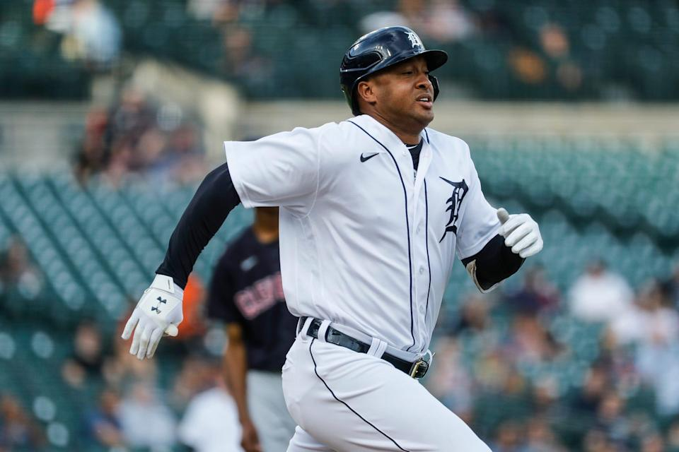 Tigers second baseman Jonathan Schoop runs towards first base after batting against Cleveland during the first inning at Comerica Park on Wednesday, May 26, 2021.