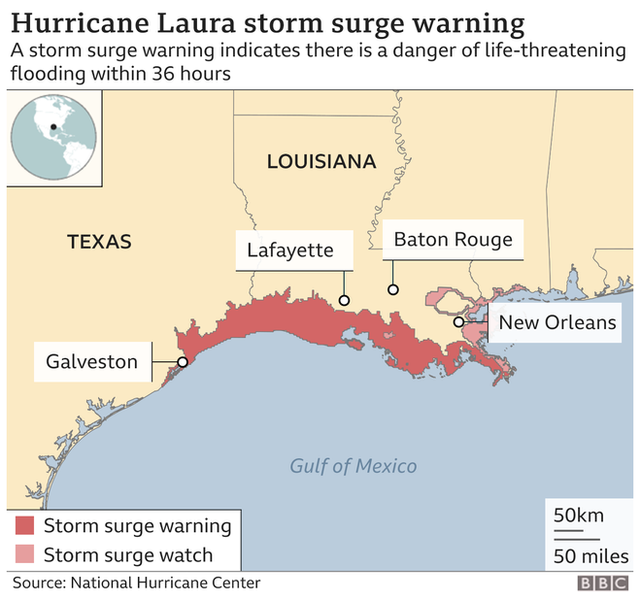 A map showing the expected storm surge