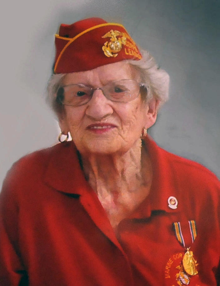 This photo provided by Beth Kluttz shows Dorothy Schmidt Cole. Dorothy Schmidt Cole, recognized last year as the oldest living U.S. Marine, has died at age 107. The Marine Times says Dorothy Schmidt Cole died of a heart attack at her daughter's home in Kannapolis on Jan. 7, 2021. (Courtesy of Beth Kluttz via AP)