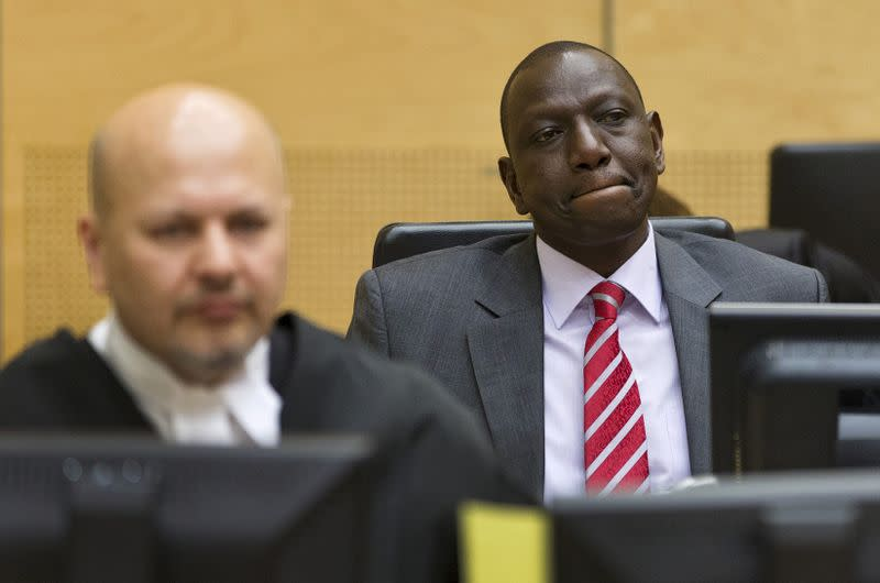 FILE PHOTO: A file photo shows Kenya's Deputy President Ruto sitting in the courtroom before his trial at the International Criminal Court in The Hague