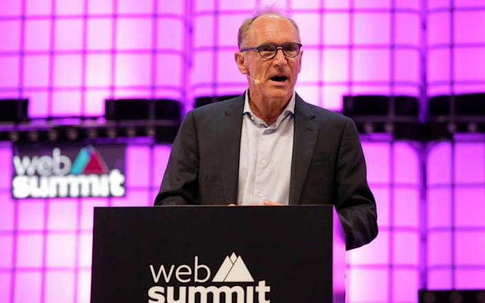 Sir Tim was speaking at the Web Summit conference in Lisbon - AP