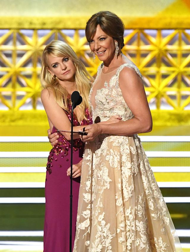 Anna Faris and Allison Janney speak onstage during the 69th Annual Primetime Emmy Awards. (Kevin Winter via Getty Images)