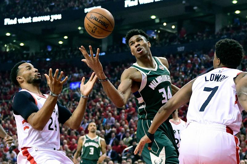 Giannis Antetokounmpo and the Bucks couldn't get much going after the first quarter in Game 4. (AP)