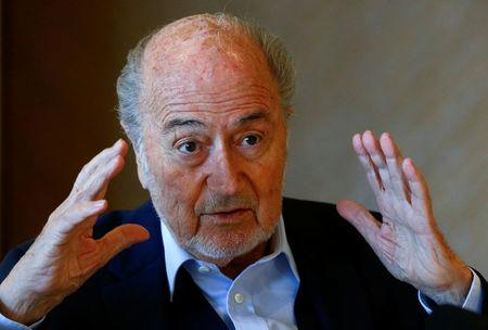 Former FIFA President Sepp Blatter gestures during an interview in Zurich, Switzerland April 21, 2017.  REUTERS/Arnd Wiegmann
