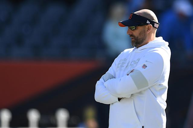 Chicago Bears head coach Matt Nagy defended his end-of-game decisions. (Stacy Revere/Getty Images)