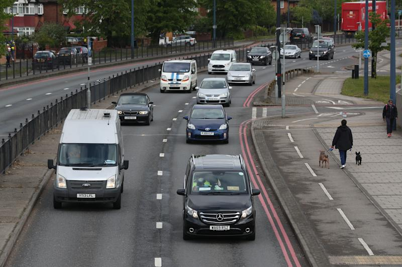 Traffic on the A40 Western Avenue (right hand lane is inbound towards central London) in Acton, northwest London, as new figures published this week showed that road traffic levels have increased despite lockdown orders remaining in place.