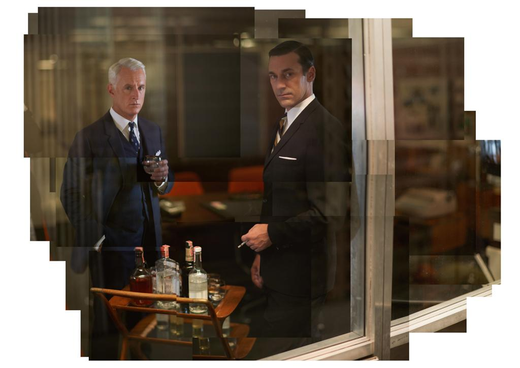 "John Slattery as Roger Sterling and Jon Hamm as Don Draper in ""<a target=""_blank"" href=""http://tv.yahoo.com/mad-men/show/39828"">Mad Men</a>."""