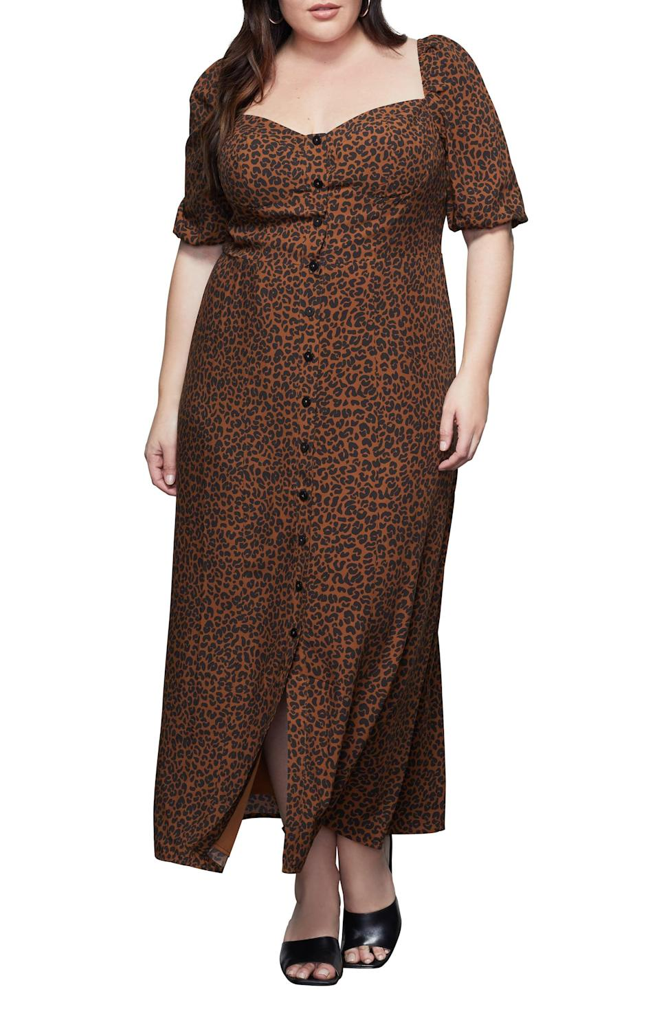 <p>We love the silhouette of this <span>Good American Corset Leopard Print Puff Sleeve Maxi Dress</span> ($159).</p>