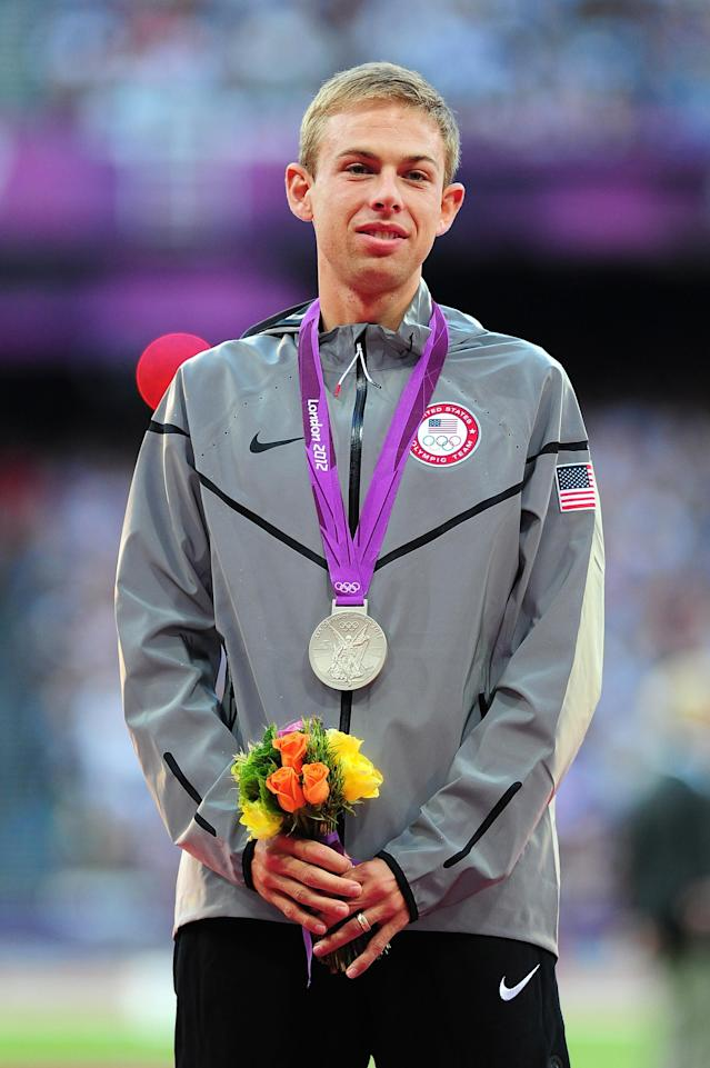 LONDON, ENGLAND - AUGUST 05: Silver medalist Galen Rupp of the United States poses on the podium for Men's 10,000m on Day 9 of the London 2012 Olympic Games at the Olympic Stadium on August 5, 2012 in London, England. (Photo by Mike Hewitt/Getty Images)