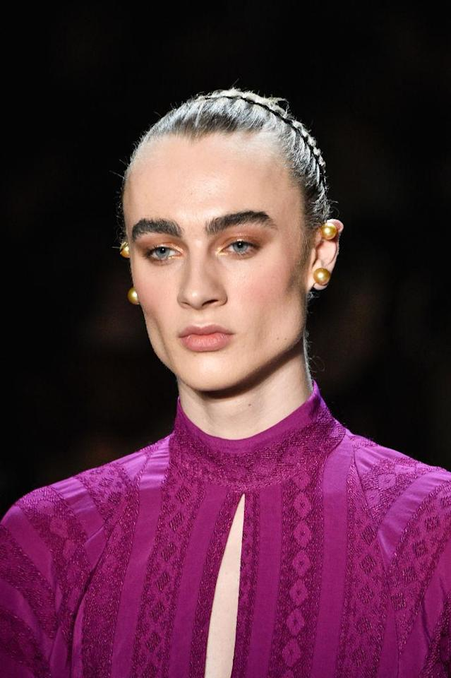 <p>Gender fluid model Vincent Beier walked in the Prabal Gurung FW18 show alongside top models, Gigi Hadid, Bella Hadid, Ashley Graham and more. (Photo: Getty) </p>
