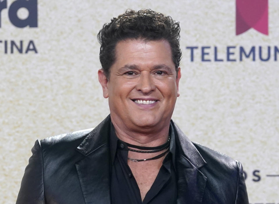 Carlos Vives arrives at the Billboard Latin Music Awards on Thursday, Sept. 23, 2021, at the Watsco Center in Coral Gables, Fla. (AP Photo/Marta Lavandier)