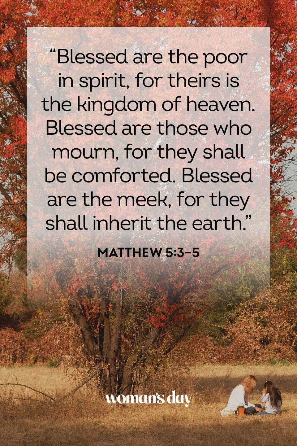 "<p>""Blessed are the poor in spirit, for theirs is the kingdom of heaven. Blessed are those who mourn, for they shall be comforted. Blessed are the meek, for they shall inherit the earth.""</p><p><strong>The Good News: </strong>God's love and mercy transcend and confound the expectations of this world.</p>"