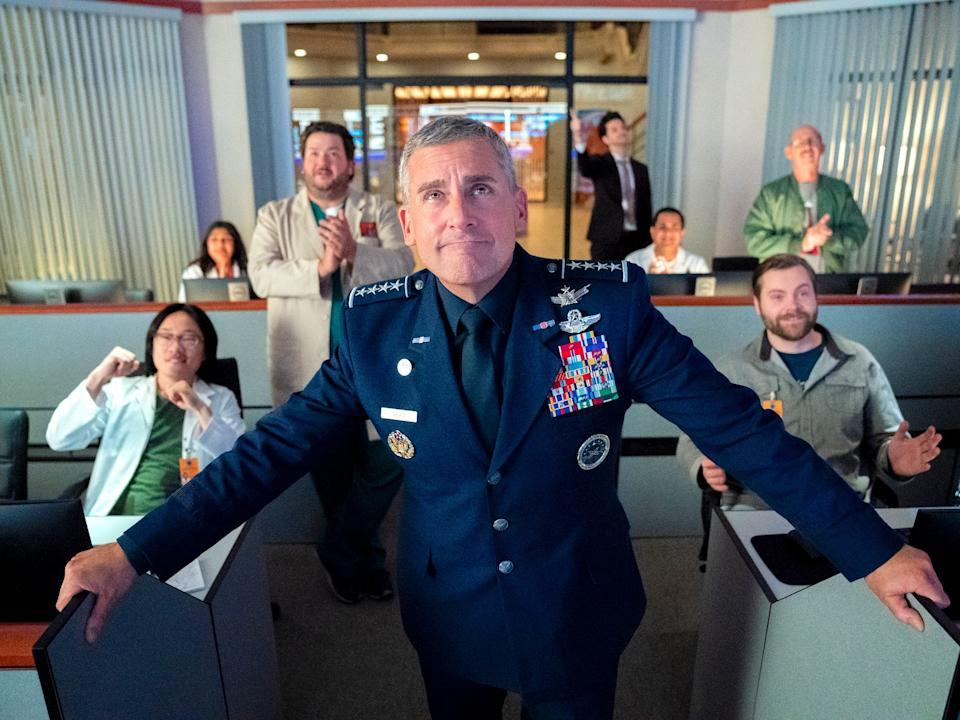 """Steve Carell, John Malkovich, Diana Silvers, Tawny Newsome, Ben Schwartz, and Lisa Kudrow costar in """"Space Force."""""""